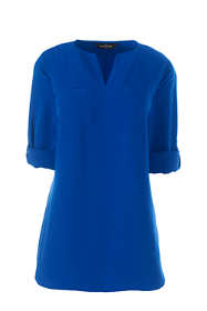 Women's Petite Roll Sleeve Splitneck Tunic Soft Blouse