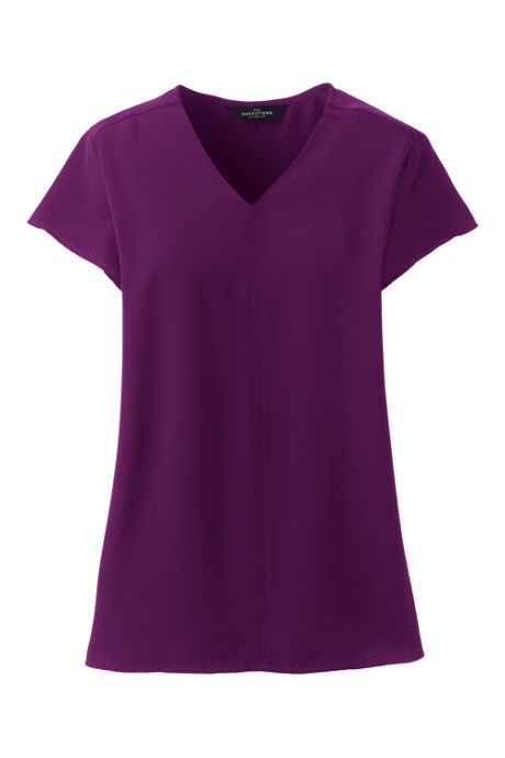 Women's Petite Hi Low V-Neck Soft Blouse