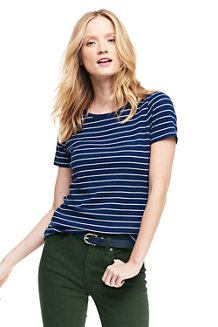 Women's Stripe Cotton Rib Crew Neck Tee