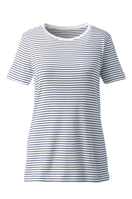 Women's Plus Size All Cotton Short Sleeve Crewneck T-Shirt Stripe