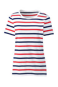 Women's All Cotton Short Sleeve Crewneck T-Shirt Stripe