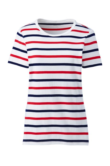 Women's Plus Size Petite All Cotton Short Sleeve Crewneck T-Shirt Stripe