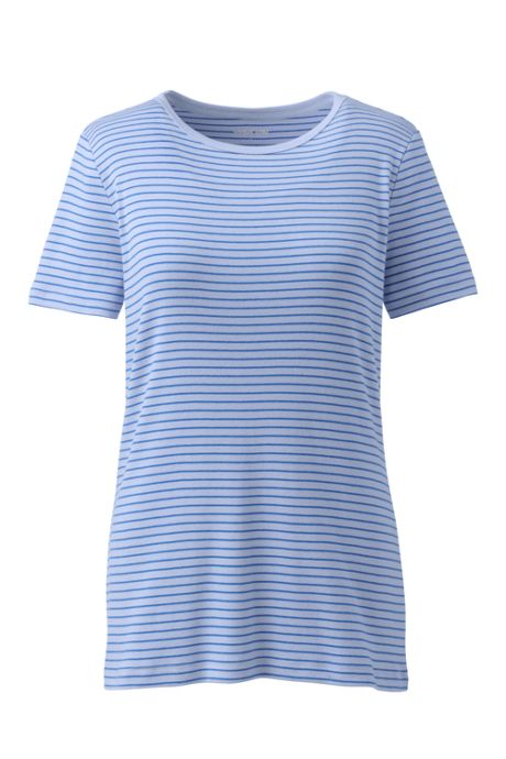 Women's Tall All Cotton Short Sleeve Crewneck T-Shirt Stripe