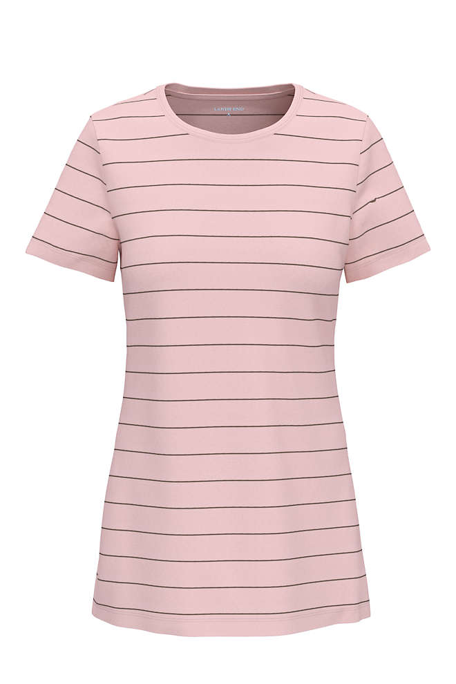 Women's Plus Size All Cotton Short Sleeve Crewneck T-Shirt Stripe, Front