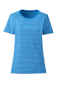 Women's Plus Size Stripe Shaped Short Sleeve T-shirt Cotton Crewneck