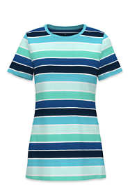 Women's Plus Size All Cotton Short Sleeve Crewneck T-Shirt Stripe