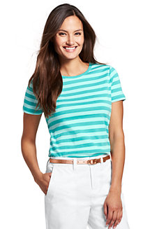 Women's Stripe Cotton Rib Crew Neck T-shirt