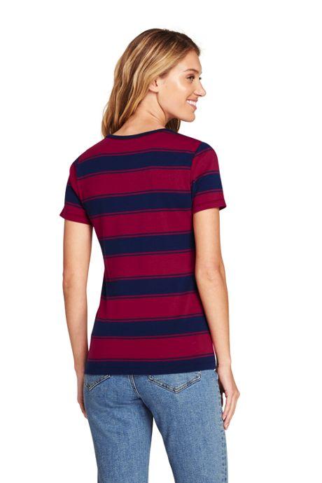 Women's Tall Stripe Shaped Short Sleeve T-shirt Cotton Crewneck
