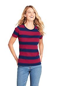 f105bee41cacb Women's Stripe Shaped Short Sleeve Cotton Crewneck T-Shirt