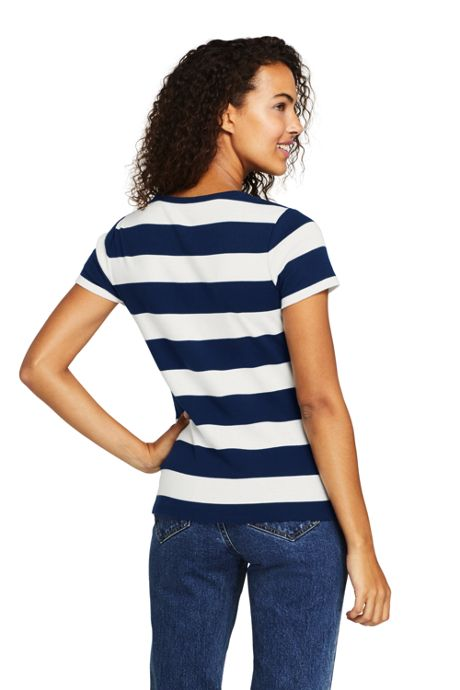 Women's Petite All Cotton Short Sleeve Crewneck T-Shirt Stripe