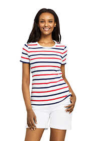 Women's Stripe Shaped Short Sleeve T-shirt Cotton Crewneck