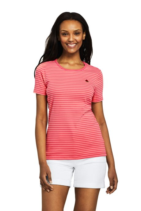 Women's Tall Stripe Shaped Short Sleeve T-shirt Cotton Crewneck