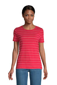 Women's All Cotton Short Sleeve Crewneck T-Shirt Stripe