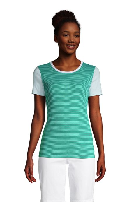 Women's Tall All Cotton Short Sleeve Crewneck T-Shirt Stripe