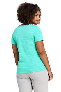 Women's Plus Size All Cotton Short Sleeve Crewneck T-Shirt Stripe, Back