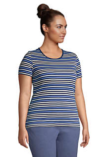 Women's Plus Size All Cotton Short Sleeve Crewneck T-Shirt Stripe, alternative image
