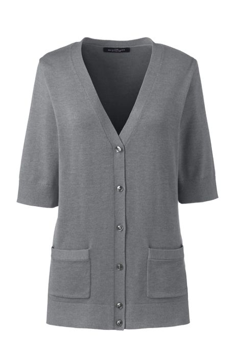 Women's Cotton Modal Half Sleeve V-neck Cardigan Sweater