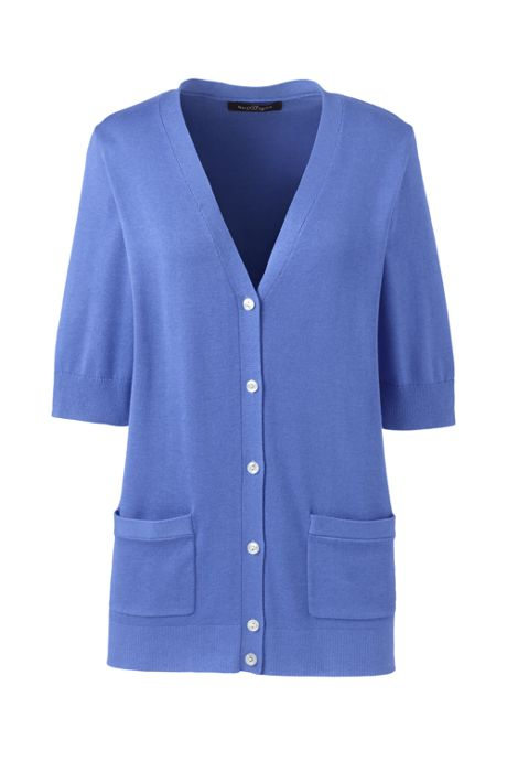 Women's Cotton Modal Half Sleeve V-neck Cardigan