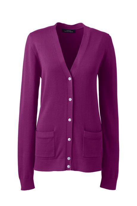 Women's Cotton Modal Long Sleeve V-neck Cardigan Sweater