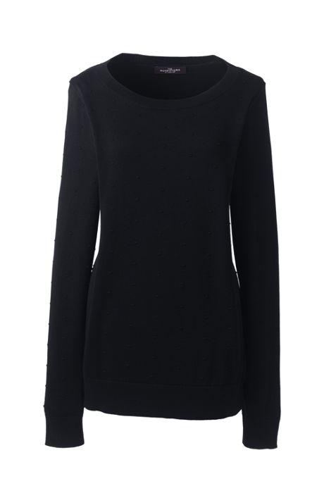 Women's Plus Size Cotton Modal Textured Dot Crew Sweater