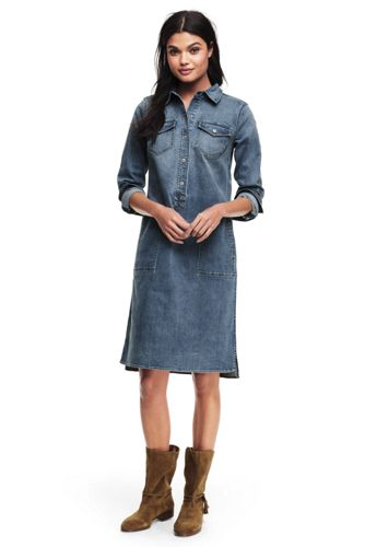 La Robe Chemise en Denim Stretch, Femme Stature Petite