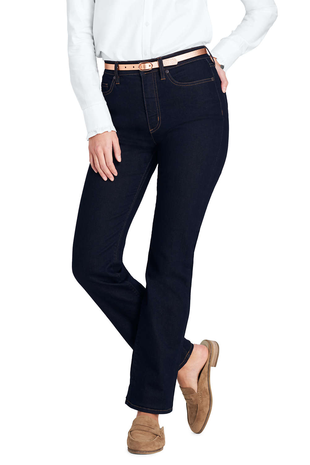 8fbb5c696 Women s High Rise Straight Leg Jeans from Lands  End