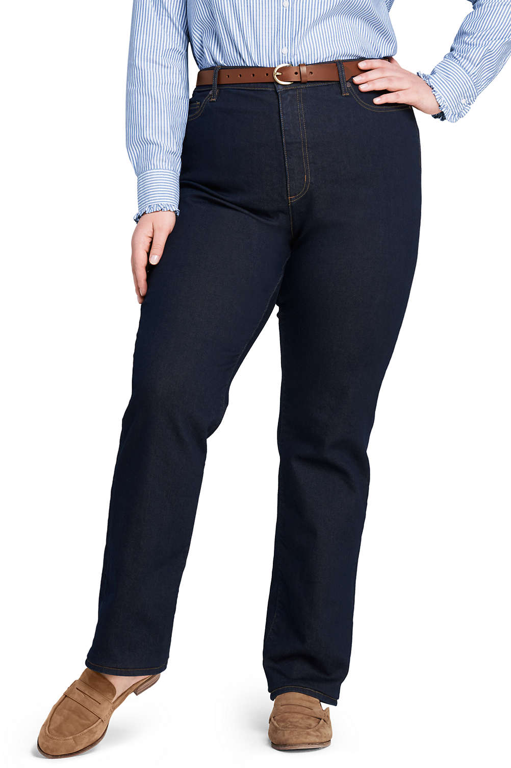 6ea6a11df2cd1 Women s High Rise Straight Leg Jeans from Lands  End