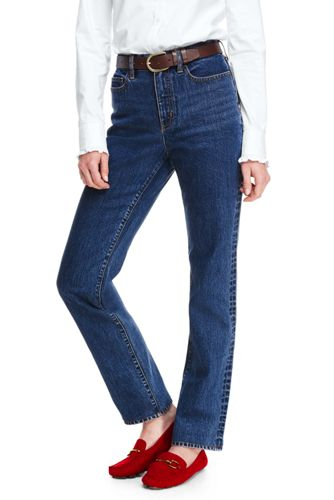 40e4741515 Women's High Waisted Jeans, Indigo Straight Leg | Lands' End