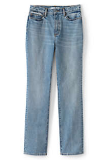 Women's Plus Size High Rise Straight Leg Classic Fit Blue Jeans, Front