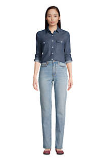 Women's Tall High Rise Straight Leg Classic Fit Blue Jeans, alternative image