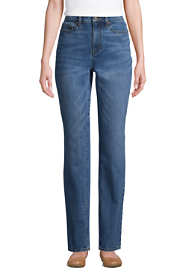 Women's Petite High Rise Straight Leg Classic Fit Blue Jeans