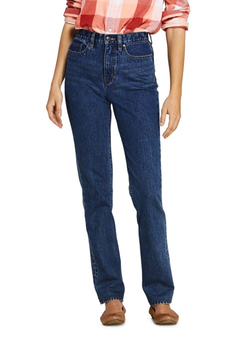 Women's Petite High Rise Straight Leg Classic Fit Blue Jeans