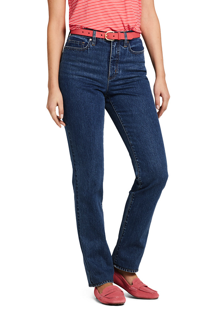 Women's High Rise Straight Leg Jeans - Lands' End