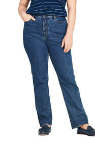 Women's Plus Size High Rise Straight Leg Classic Fit Blue Jeans