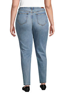 Women's Plus Size High Rise Straight Leg Classic Fit Blue Jeans, Back