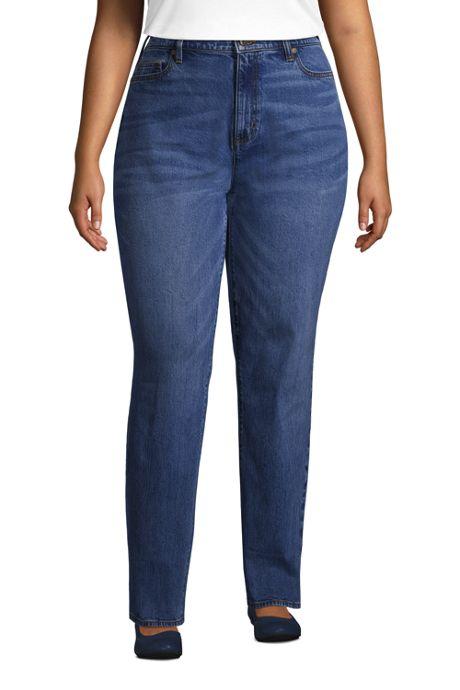 Women's Plus Size High Rise Straight Leg Classic Fit Blue Jeans