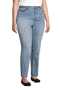 Women's Plus Size High Rise Straight Leg Classic Fit Blue Jeans, alternative image