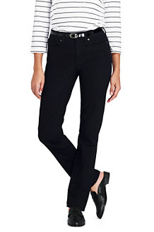 Womens Petite True Straight Black Jeans - 14/16 30 - BLACK Lands End 3QmVNgXBe