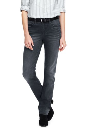 Womens True-Straight Gunmetal Grey Jeans - 10 30 - Grey Lands End