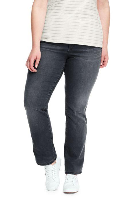 Women's Plus Size Mid Rise True Straight Leg Jeans