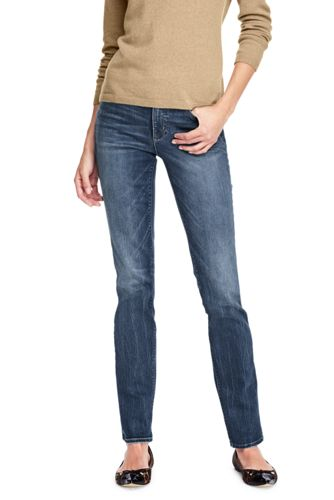 Le Jean Indigo Droit Taille Mi-Haute Stretch, Femme Stature Standard