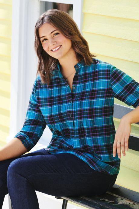 Women's Plus Size Flannel Pleated Tunic