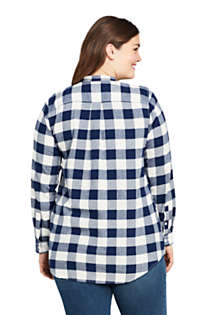Women's Plus Size Flannel Tunic Top, Back