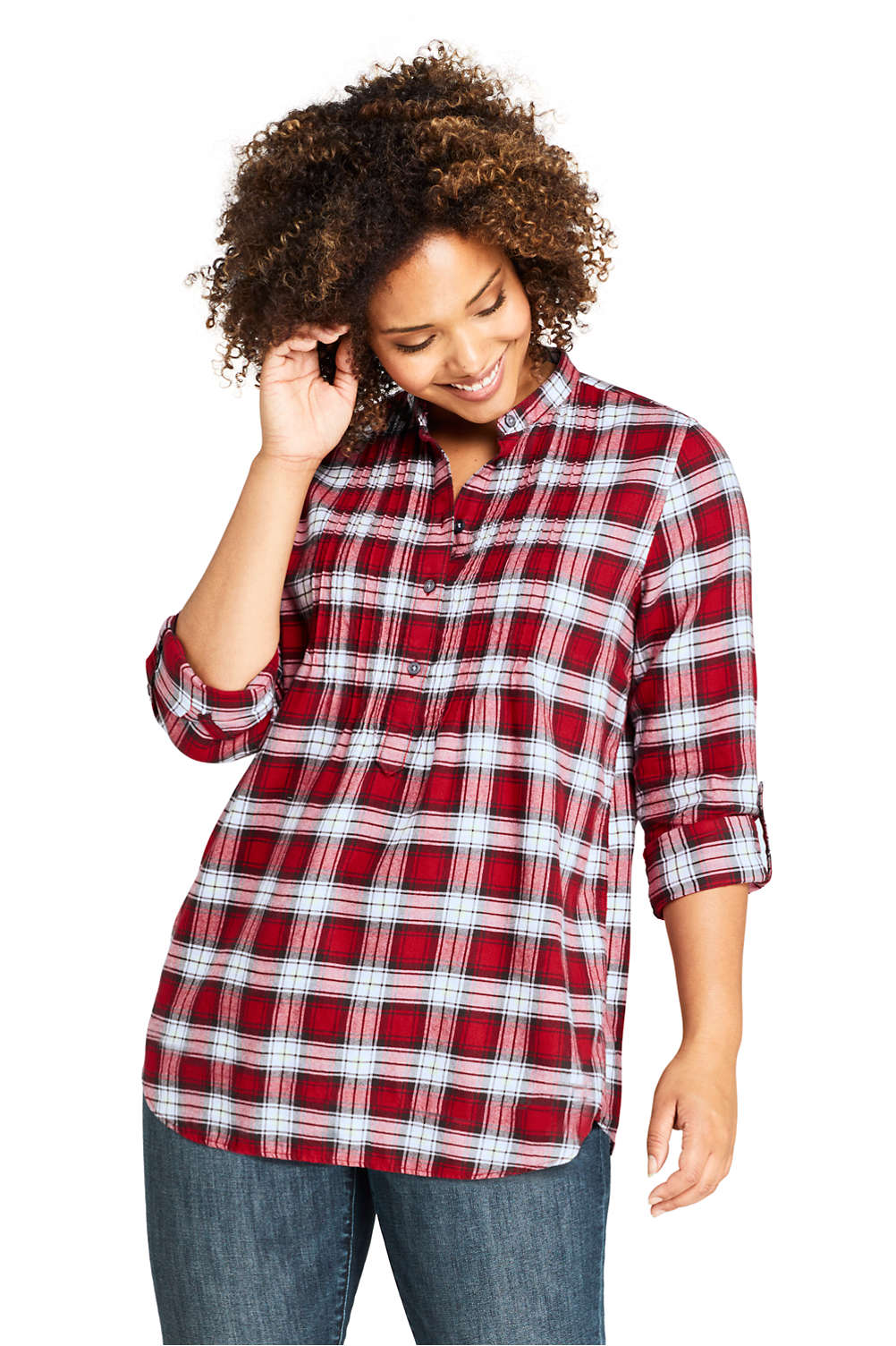 best selection of 2019 hot-selling genuine limited sale Women's Plus Size Flannel Tunic Top