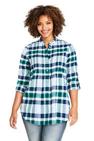 Women's Plus Size Flannel Pleated Tunic Top