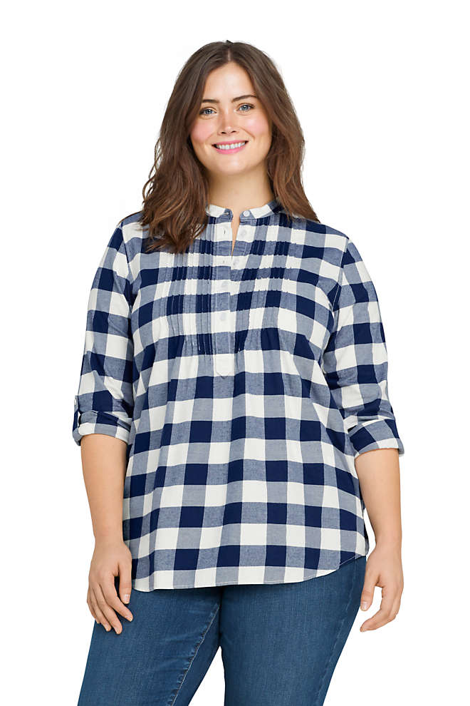 Women's Plus Size Flannel Tunic Top, Front