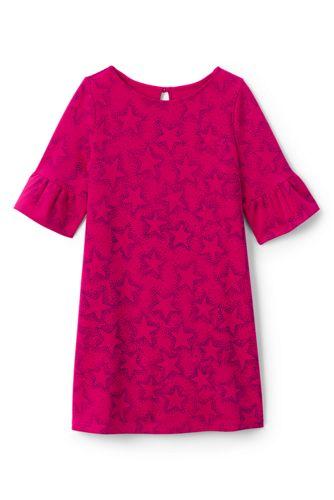Gemustertes Ponté-Kleid mit Volantärmeln für große Mädchen