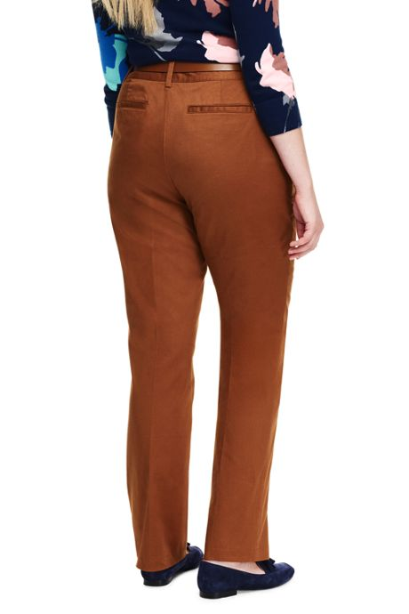 Women's Plus Size Petite Mid Rise Chino Straight Leg Pants