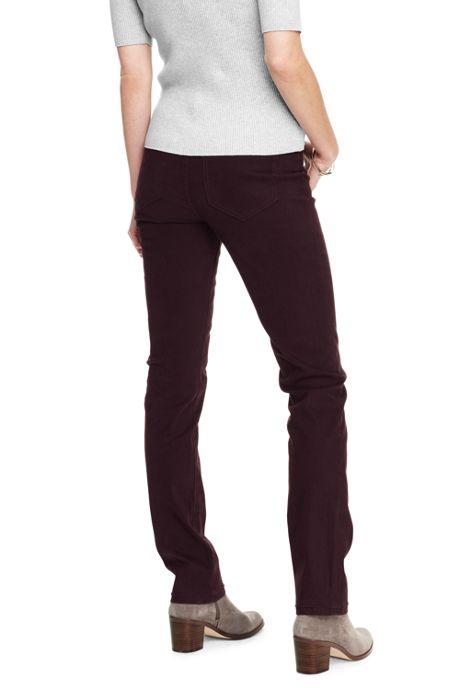 Women's Petite Mid Rise 5 Pocket Sateen Straight Leg Pants