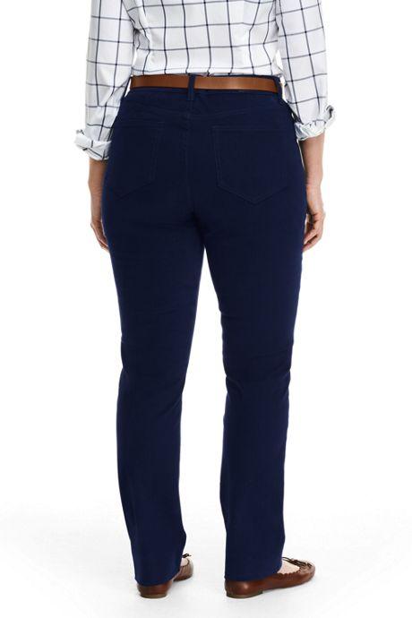 Women's Plus Size Mid Rise 5 Pocket Sateen Straight Leg Pants
